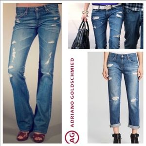AG Distressed Angel Bootcut Jeans